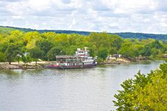 Scenic Midwest View With Riverboat Stock Image