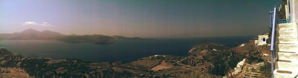 Milos island in Greece. Scenic Greek island of Milos from  mountain overlook Royalty Free Stock Photo