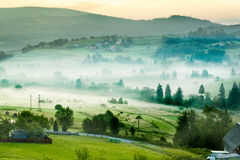 Scenic misty morning in the mountains landscape. Photo of misty morning in the mountains. Photo made in Poland royalty free stock photos