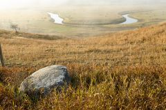 Scenic misty view of the Sheyenne River royalty free stock image