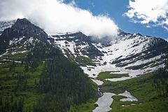 Scenic Montana Mountains. Covered Partially by Snow. Scenic Montana Photo Collection Stock Photo