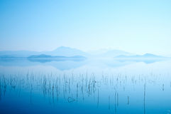 Scenic morning over bukhtarma river. Nature landscape at morning of river and mountains stock photos