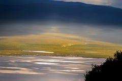Lake Magadi, also called Makat, center of Ngorongoro Crater Conservation Area in Tanzania. Scenic morning view of seasonal salt lake, Lake Magadi, also called royalty free stock photos