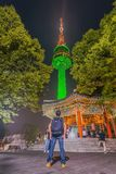 Scenic most beautiful night on Mount Namsan N-SEOUL TOWER South royalty free stock photography