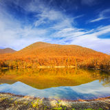 Scenic mountain lake with autumnal forest along the shore and bl. Beautiful scenic mountain lake with autumnal forest along the shore and blue cloudy sky above Stock Photography