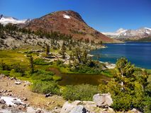 Scenic Mountain Lake, Sierra Nevada Mountains stock photography
