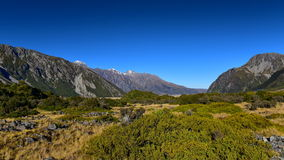 Scenic mountain landscape along Kea Point Track in Aoraki Mount Cook National Park Stock Photography