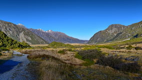 Scenic mountain landscape along Kea Point Track in Aoraki Mount Cook National Park Royalty Free Stock Photos