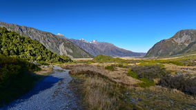 Scenic mountain landscape along Kea Point Track in Aoraki Mount Cook National Park Stock Photos