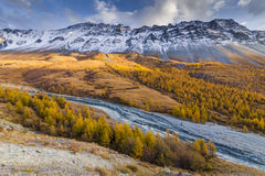 Scenic mountain landscape in the autumn. Royalty Free Stock Photography