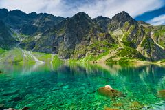 Scenic mountain landscape background and a lake in the Tatras, P. Oland stock photo