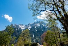Scenic Mountain Landscape in Bayern Mittenwald in a sunny day, with Blue Sky and Trees.  stock photos