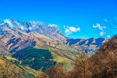 Scenic mountain landscape shot of Caucasus, travel background Royalty Free Stock Photography