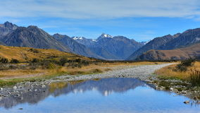 Scenic mountain ranges in Ashburton Lakes region in New Zealand Stock Image