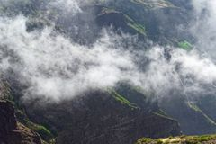 Scenic mountain ridge in a clouds. View from Pico do Arieiro on Portuguese island of Madeira stock images
