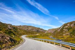 Scenic mountain road in Norway Scandinavia. Scenic mountain road along small stream, Vest-Agder county, Norway, Scandinavia stock photos