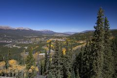 Scenic Mountain Town with Aspens royalty free stock photo