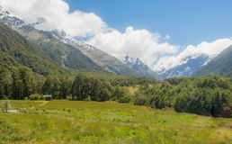 Scenic Mountain Valley in New Zealand. Hiking through the Matukituki Valley in New Zealand Royalty Free Stock Image