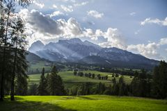 Scenic mountain view Cortina D´ampezzo Italy Royalty Free Stock Image
