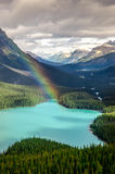 Scenic mountain view of Peyto lake, Canadian Rockies Royalty Free Stock Images