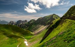 Scenic mountain view during summer sunny day in the swiss alps, ridge walk brienzer rothorn. Hohenweg royalty free stock image