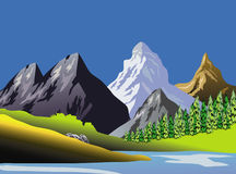 Scenic Mountaineous Landscape Art Stock Image