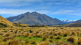 Scenic mountains in Ashburton Lakes region in New Zealand Royalty Free Stock Images