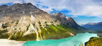Canadian Rockies and Lake, Banff NP, Sunrise Scenery Panorama. Scenic mountains and Peyto Lake in Canadian Rockies, panoramic view. Canadian landscape, Banff NP stock photos