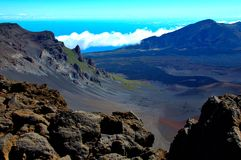 Scenic National Park Haleakala, Maui, Hawaii. Tropical paradise Maui Hawaii, Scenic National park Haleakala.  Landscape view of volcanic crater from the summit Stock Photo