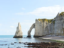 Scenic with natural cliff on english channel beach. Scenic with natural cliffs on english channel beach of Etretat cote d'albatre, France Royalty Free Stock Image