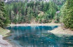 Scenic natural view. Alpine mountaine green lake. Gruner see, Austria Stock Photos