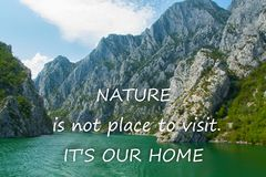 Scenic nature background with text stock image