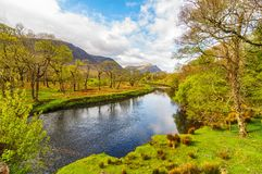 Scenic nature connemara landscape from the west of ireland. Epic irish rural countryside from county galway along the wild atlantic way stock image