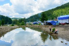 Scenic nature at Yavorin`s annual festival in western Ukraine royalty free stock images
