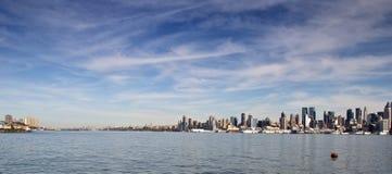Scenic new york city skyline over hudson river Royalty Free Stock Photo