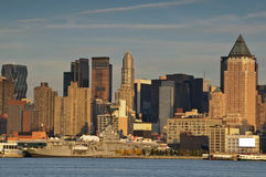 Scenic new york city skyline over hudson river Stock Photo
