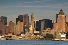 Scenic new york city skyline over hudson river Stock Photo