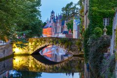 Night Green canal in Bruges, Belgium stock photos