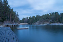 Scenic night time view on a bay. View on a bay in Stockholm Archipelago during night time royalty free stock photography