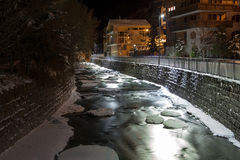 Scenic night time views of Zermatt (and frozen river), Switzerland.  Stock Photography