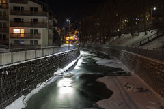 Scenic night time views of Zermatt (and frozen river), Switzerland.  Stock Photo