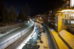 Scenic night time views of Zermatt (and frozen river), Switzerland.  Stock Image