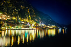 Scenic night view of illuminated town Limone sul Garda, Italy Royalty Free Stock Photography