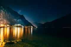 Scenic night view of illuminated town Limone sul Garda, Italy Stock Images