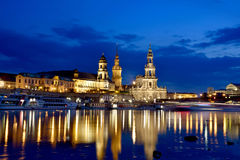Scenic night view of the old Dresden over the river Elbe. Saxony Stock Images