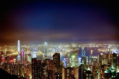 A scenic night view of the skyscarpers of Hong Kong, from Victor. HONG KONG, HK - DECEMBER 30, 2014 - A scenic night view of the skyscarpers of Hong Kong, from royalty free stock image