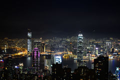 A scenic night view of the skyscarpers of Hong Kong, from Victor. HONG KONG, HK - DECEMBER 30, 2014 - A scenic night view of the skyscarpers of Hong Kong, from royalty free stock photography