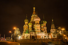 Scenic night view of the St. Basil's Cathedral, Royalty Free Stock Photos