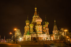Scenic night view of the St. Basil's Cathedral, Stock Image