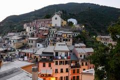 Scenic night view of village Vernazza Stock Photo